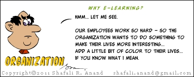 How does an organization benefit by implementing eLearning? Training Cartoons - The Mingoos.