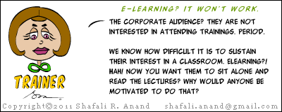 Cartoon-image of Trainer - why elearning won't work - disinterested audience