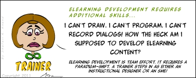 Components of an eLearning course - a trainer's thoughts - cartoon.