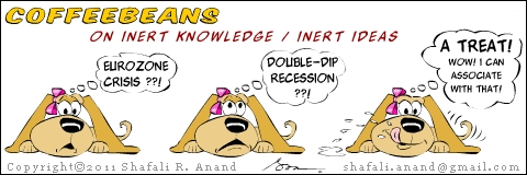 "Cartoon depicting Coffeebeans the pup with an education, mulling over the eurozone crisis and the double dip recession (inert knowledge) and favoring the word ""treat"" (association of ideas.)"