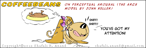 Cartoon of Coffeebeans, the educated pup - her take on Perceptual Arousal - one of the techniques to gain attention in the ARCS model given by John Keller (Training Humor.)