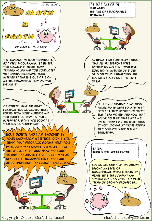 Training Cartoons Comic - Sloth and Froth - Performance Appraisal, Cognitive Dissonance, Levels of Incompetence.