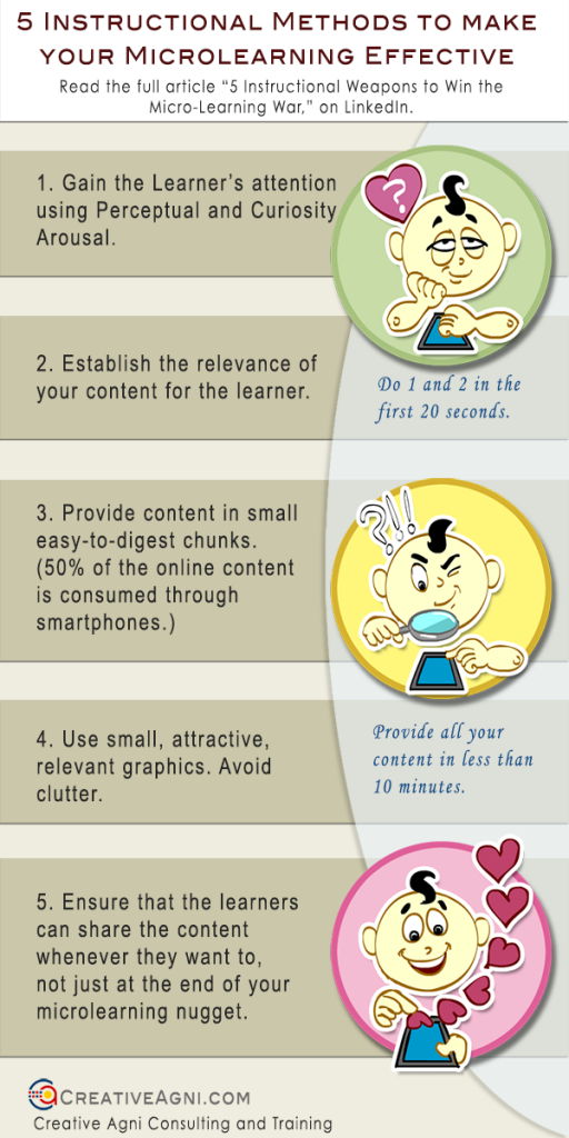An infographic on how to make microlearning effective through the use of instructional design.