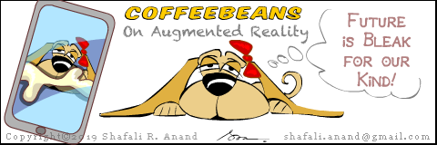 Cartoon of Coffeebeans reflecting over future with Augmented Reality.